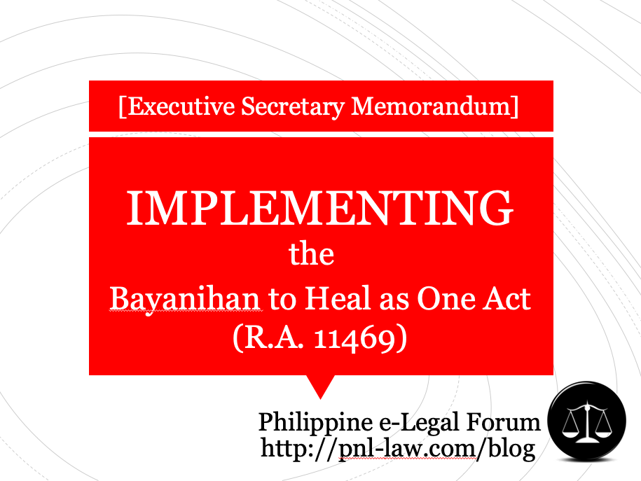 Implementing the Bayanihan to Heal as One Act (RA 11469)