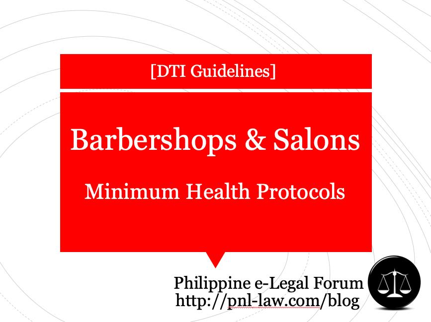 Barbershops and Salons Minimum Health Protocols