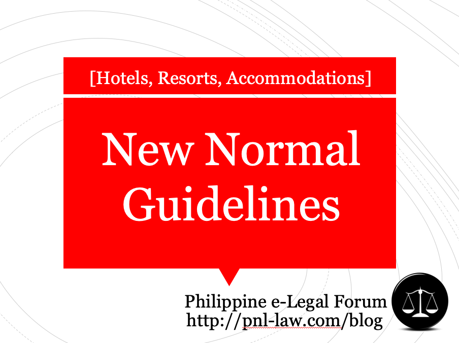 New Normal Guidelines for Hotels, Resorts and Accommodation Establishments