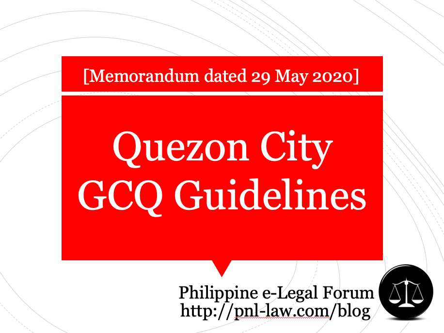 Quezon City GCQ Guidelines