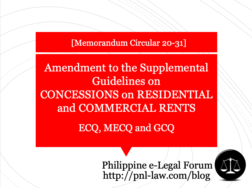 Amendment to the Supplemental Guidelines on Concessions on Residential and Commercial Rents