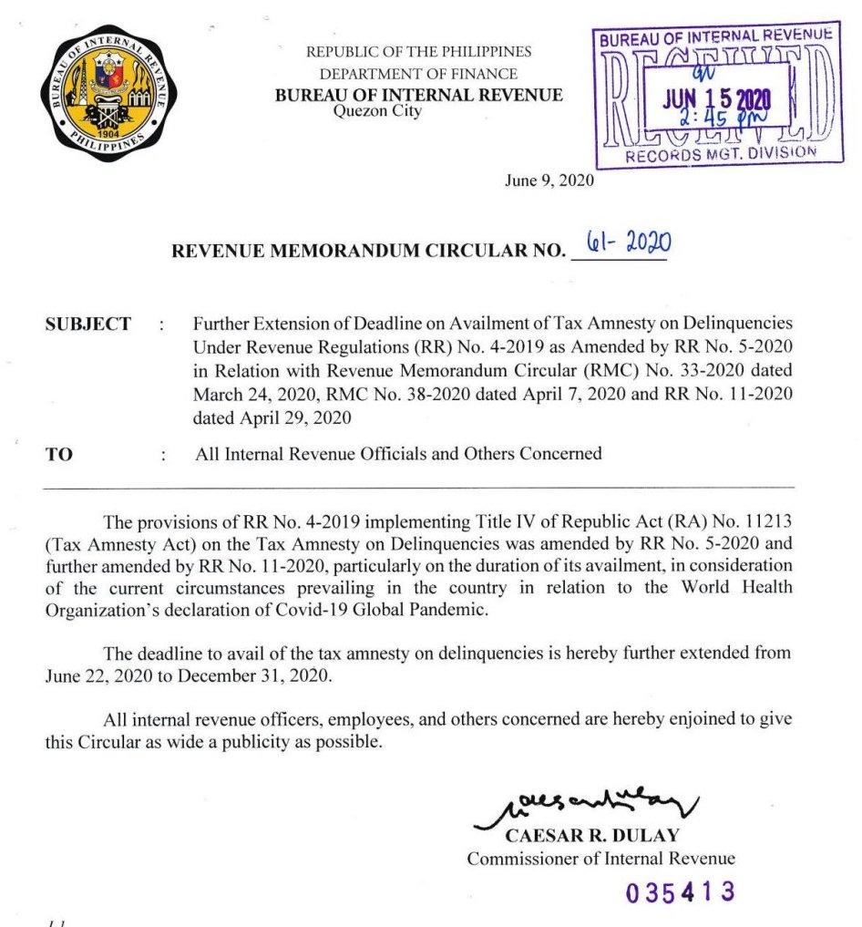BIR Revenue Memorandum Circular No. 61-2020