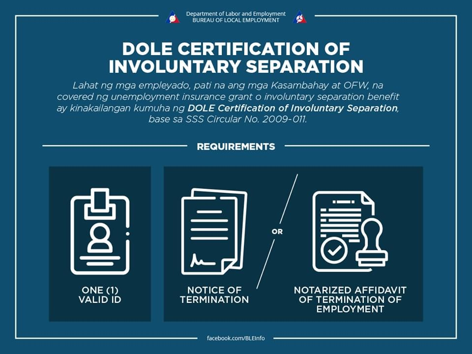 DOLE Certification of Involuntary Separation from Work