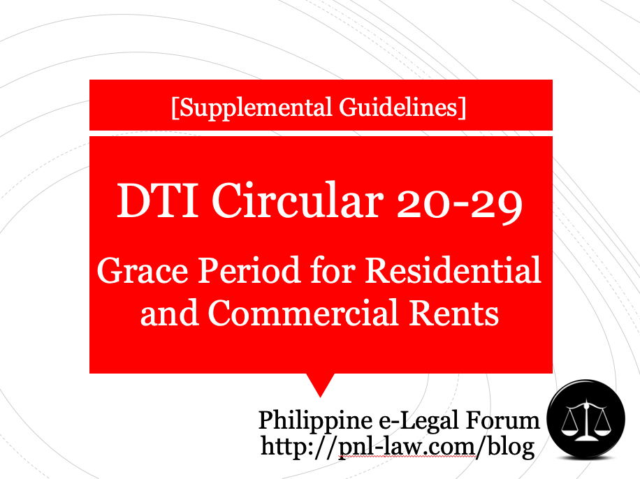 DTI Memorandum Circular No. 20-29 on Grace Period for Residential and Commercial Rents