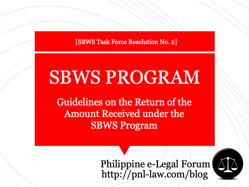 Guidelines on the Return of the Amount Received under the SBWS Program