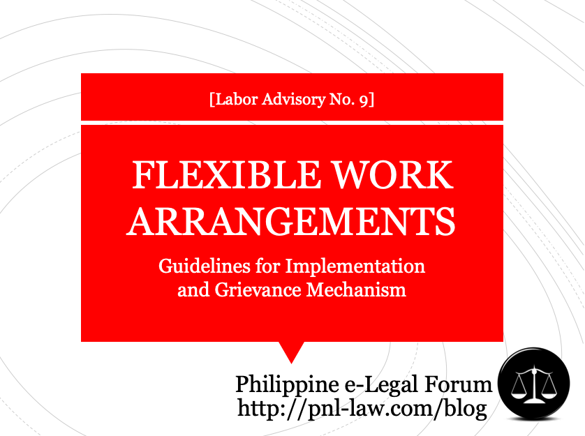 Labor Advisory No. 9-2020 (full text) Guidelines for Flexible Work Arrangements