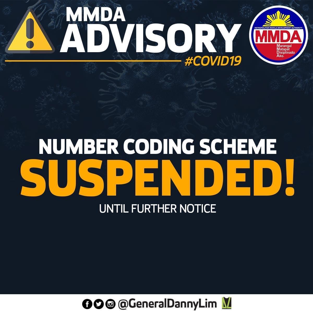 MMDA Advisory re Number Coding Scheme Suspended in Metro Manila
