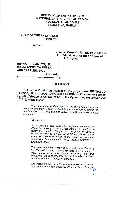 People vs Reynaldo Santos Jr Maria Ressa Decision Rappler p1
