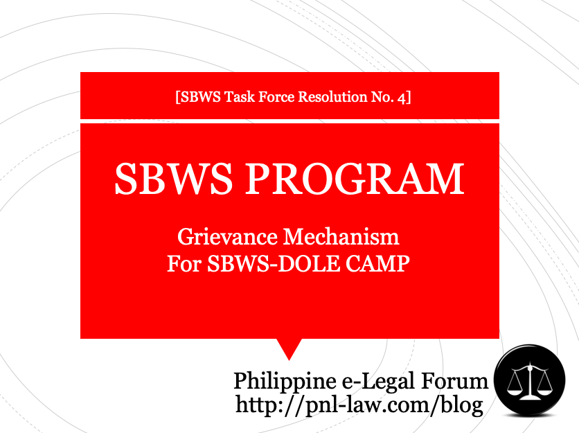 SBWS DOLE CAMP Grievance Mechanism Philippines